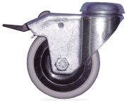 Stainless steel castor with plastic wheel and brake