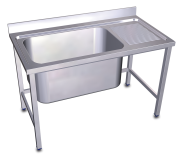 Stainless steel standing sink 1 high capacity tank and right drain board