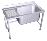 Stainless steel standing sink 1 high capacity tank and left drain board