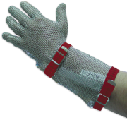 Stainless steel reversible mesh glove with belt and cuff