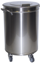 Stainless container with lid and detachable wheels