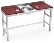 Stainless steel preparation and cleansing table 1500 mm red 2 holes