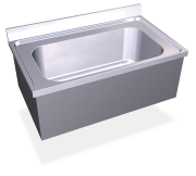 Stainless steel high capacity wall mounted sink with skirt, 1 tank.