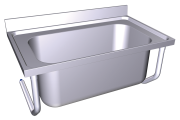 Stainless steel high capacity wall mounted sink with brackets, 1 tank.