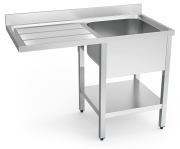 Stainless steel sink unit for dishwasher with left drain board