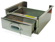 Stainless steel lock drawer mounted in 600 width shelving unit