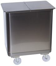 Stainless steel dustbin with lid and wheels. Special for bakery