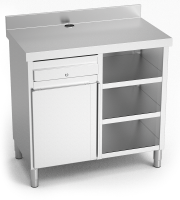 Stainless steel corner wall-side table with shelf