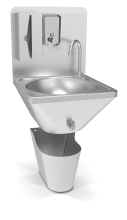 Wall-mounted integral knee operated hot and cold-water washbasin