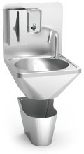 Wall-mounted integral electronically operated, hot an cold-water washbasin
