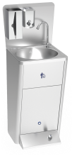 Foot operated integral washbasin