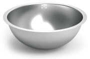 Stainless steel semi spherical sink bowl