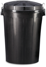 Plastic waste bin with lid