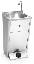 Mobile hand washbasin with self-contained free standing system