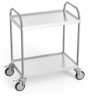 Stainless steel service trolley with two shelves