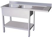 Stainless steel sink unit for dish washerr with 2 bowls and right drain board