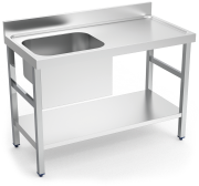 Stainless stell chef wall-side table with shelf, left tank