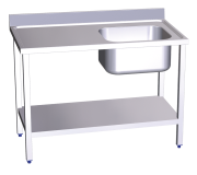 Stainless stell chef wall-side table with shelf, right tank