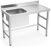 Stainless stell chef wall-side table, tank on the left side