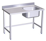 Stainless stell chef wall-side table, tank on the right side