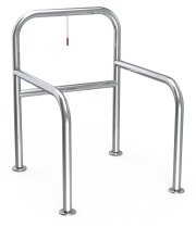 Stainless steel parking for columns of supermarket trolleys