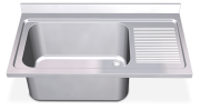 Stainless steel with high capacity sink and right drain board 700 mm.