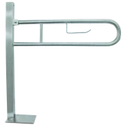 Floor-mounted hinged support grab bar