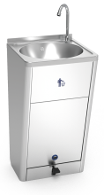 Mobile hand washbasin with self-contained free standing system, high flow