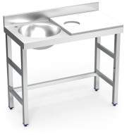 Stainless steel preparation and cleansing table 1000 mm white