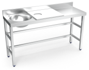 Stainless steel preparation and cleansing table 1500 mm white