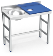 Stainless steel preparation and cleansing table 1000 mm blue