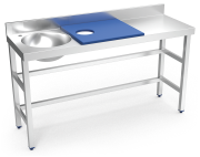 Stainless steel preparation and cleansing table 1500 mm blue