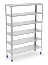 Stainless steel shelving unit with 0,8 mm thick shelves