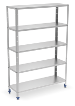Stainless steel shelving unit 5 levels with 0,8 mm thick shelves