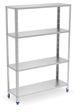 Stainless steel shelving unit 4 levels with 0,8 mm thick shelves