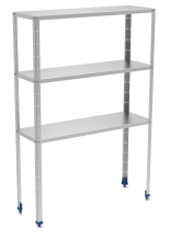 Stainless steel shelving unit 3 levels with 0,8 mm thick shelves