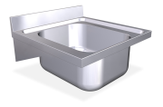 Stainless steel wall mounted sink unit with brackets 600 mm, 1 Tank