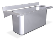 Stainless steel wall mounted sink unit with brackets 600 mm, 1 high capacity Ta