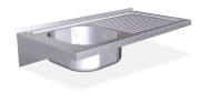 Stainless steel wall mounted sink unit with brackets 500 mm, 1 Tank, right drain