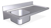 Stainless steel wall mounted sink unit with brackets 550 mm, 1 Tank, right drain