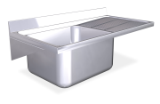 Stainless steel wall mounted sink unit with brackets 600 mm, 1 Tank, right drain