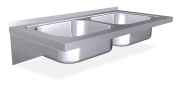 Stainless steel wall mounted sink unit with brackets 500 mm, 2 Tanks