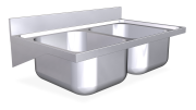Stainless steel wall mounted sink unit with brackets 600 mm, 2 Tanks