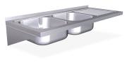 Stainless steel wall mounted sink unit with brackets 500 mm, 2 Tanks, right drai