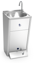 One push button free standing self-contained mobile electrical hand washbasin