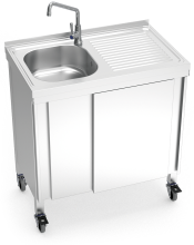 Automatic mobile sink with self-contained free standing system, cold water and right drain board