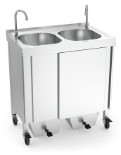 Mobile hand washbasin with self-contained free standing system for large events