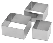 Square pastry mould in stainless steel