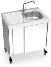 Automatic mobile sink with self-contained free standing system, cold water and left drain board