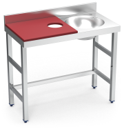 Stainless steel preparation and cleansing table 1000 mm red